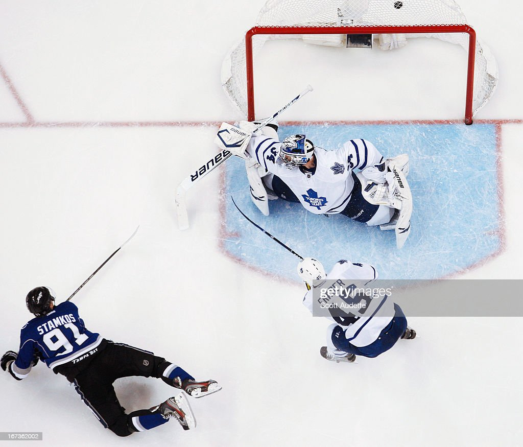<a gi-track='captionPersonalityLinkClicked' href=/galleries/search?phrase=Steven+Stamkos&family=editorial&specificpeople=4047623 ng-click='$event.stopPropagation()'>Steven Stamkos</a> #91 of the Tampa Bay Lightning scores on James Reimer #34 of the Toronto Maple Leafs during the second period of the game at the Tampa Bay Times Forum on April 24, 2013 in Tampa, Florida.