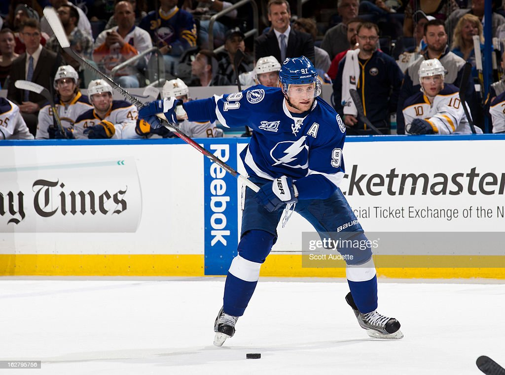 Steven Stamkos #91 of the Tampa Bay Lightning shoots the puck during the first period of the game against the Buffalo Sabres at the Tampa Bay Times Forum on February 26, 2013 in Tampa, Florida.