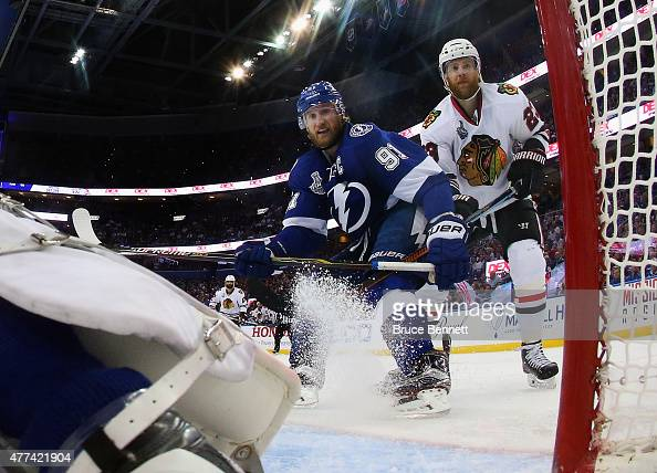 Steven Stamkos of the Tampa Bay Lightning skates against Kris Versteeg of the Chicago Blackhawks during Game Five of the 2015 NHL Stanley Cup Final...
