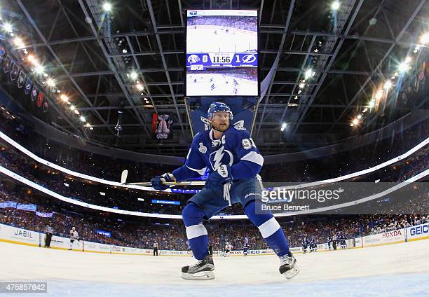 Steven Stamkos of the Tampa Bay Lightning skates against the Chicago Blackhawks during Game One of the 2015 NHL Stanley Cup Final at Amalie Arena on...