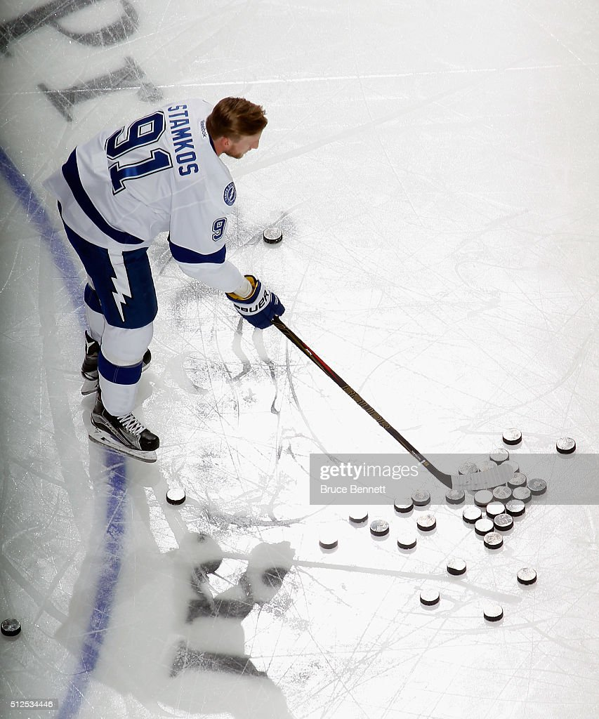 Steven Stamkos #91 of the Tampa Bay Lightning skates in warm-ups prior to the game against the New Jersey Devils at the Prudential Center on February 26, 2016 in Newark, New Jersey.