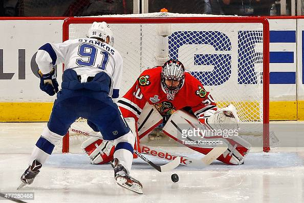 Steven Stamkos of the Tampa Bay Lightning takes a shot on Corey Crawford of the Chicago Blackhawks during the second period in Game Six of the 2015...