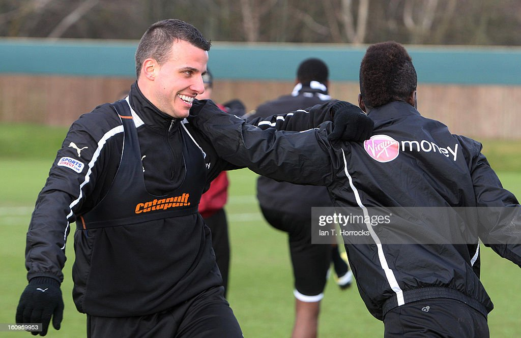 Steven Taylor (L) and Cheik Tiote during a Newcastle United training session at the Little Benton training ground on February 08, 2013 in Newcastle upon Tyne, England.