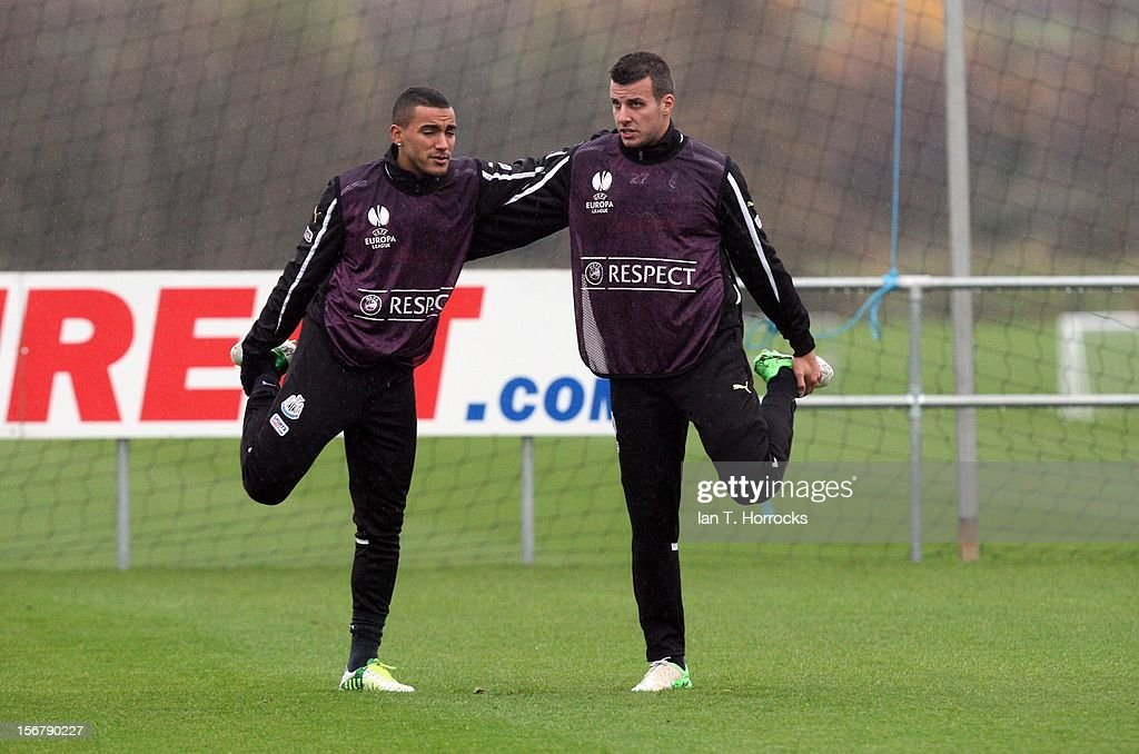 Steven Taylor (right) and Danny Simpson during a Newcastle United training session at the Little Benton training ground on November 21, 2012, in Newcastle upon Tyne