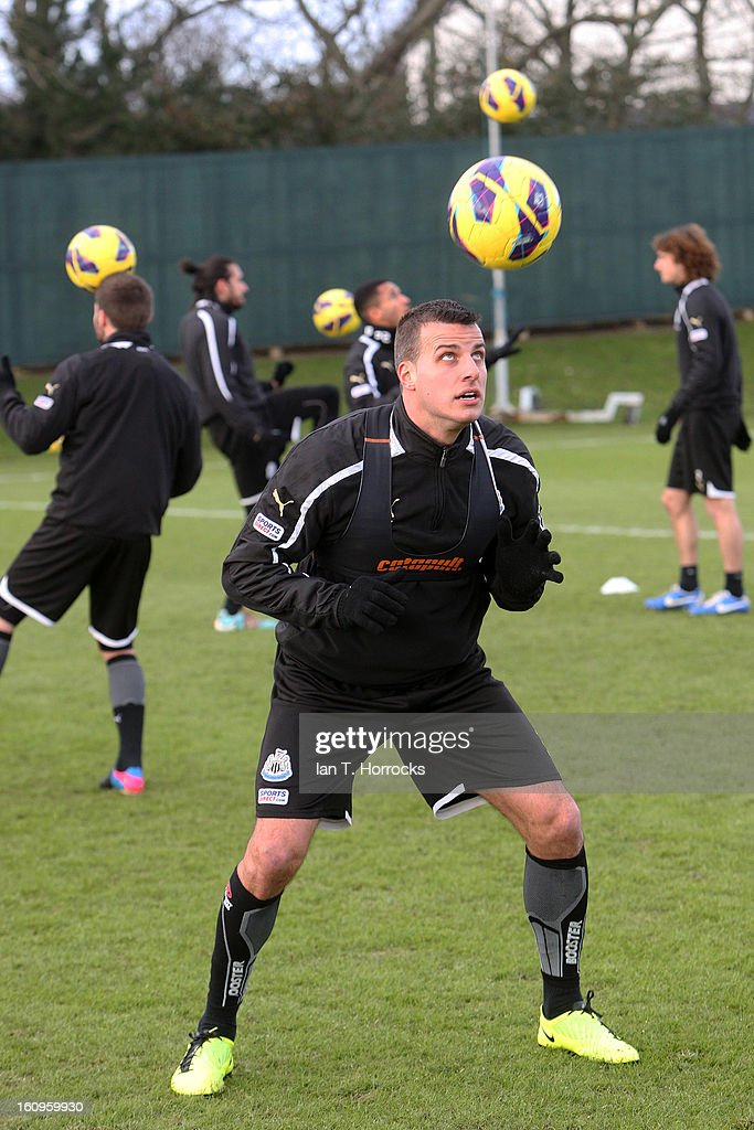 Steven Taylor during a Newcastle United training session at the Little Benton training ground on February 08, 2013 in Newcastle upon Tyne, England.