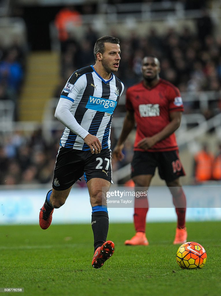 Steven Taylor of Newcastle (27) runs with the ball during the Barclays Premier League match between Newcastle United and West Bromwich Albion at St.James' Park on February 6, 2016, in Newcastle upon Tyne, England.