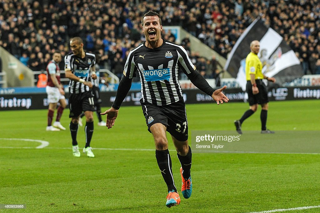 Steven Taylor (27) of Newcastle United celebrates after scoring the opening goal during the Barclays Premier League match between Newcastle United and Burnley at St.James' Park on January 01, 2015, in Newcastle upon Tyne, England.
