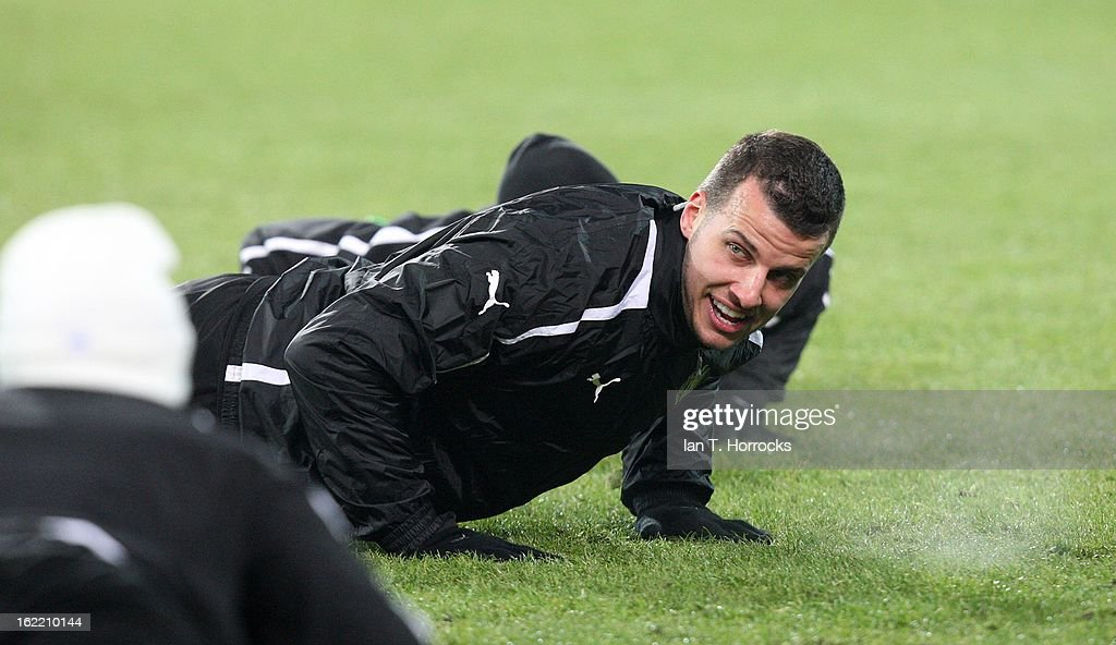 Steven Taylor of Newcastle United FC attends a training session ahead of their UEFA Europa League round of 32 second leg match against FC Metalist Kharkiv, at Metalist Stadium, on February 20, 2013 in Kharkov, Ukraine.