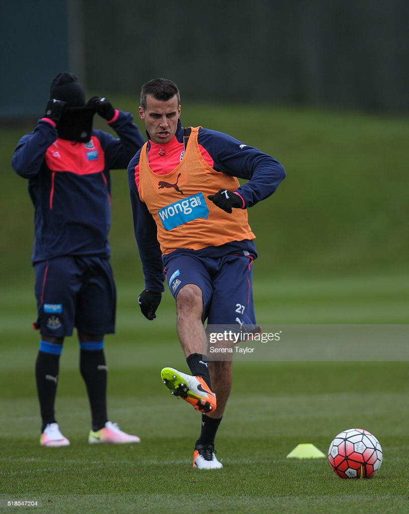 Steven Taylor passes the ball during the Newcastle United Training session at The Newcastle United Training Centre on April 1, 2016, in Newcastle upon Tyne, England.