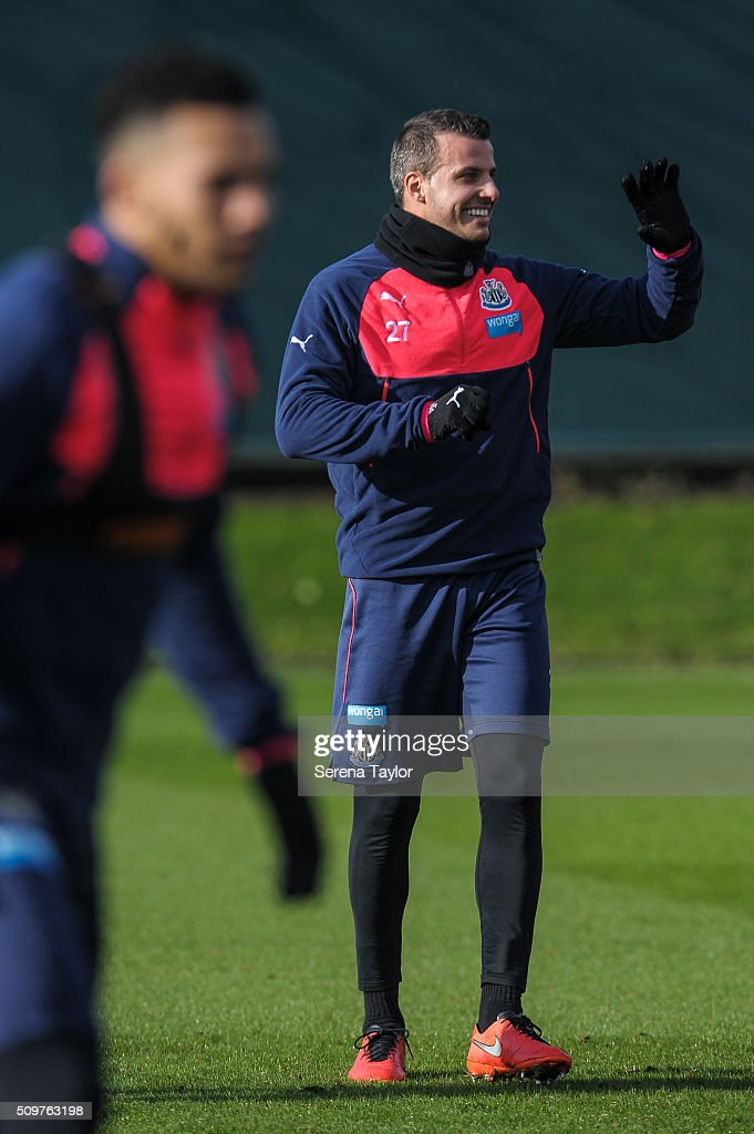 Steven Taylor waves during the Newcastle United Training session at The Newcastle United Training Centre on February 12, 2016, in Newcastle upon Tyne, England.