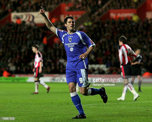 Steven Thompson of Cardiff celebrates scoring the first goal for Cardiff during the CocaCola Championship match between Southampton and Cardiff City...
