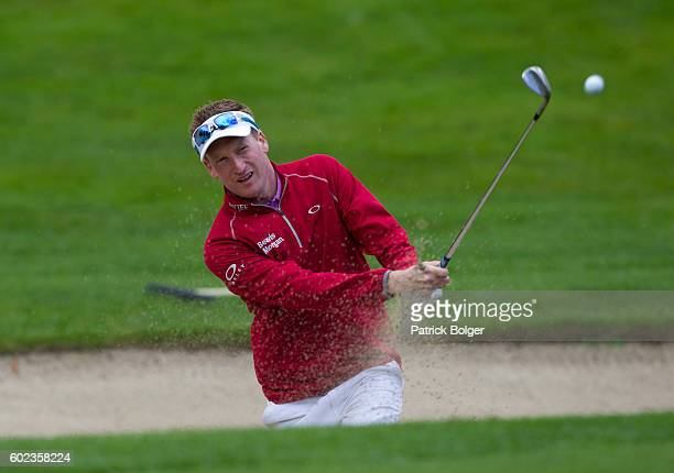 Steven Tiley from England plays from a bunker on the 15th hole during the final round of the Volopa Irish Challenge at Mount Wolseley Hotel Spa and...