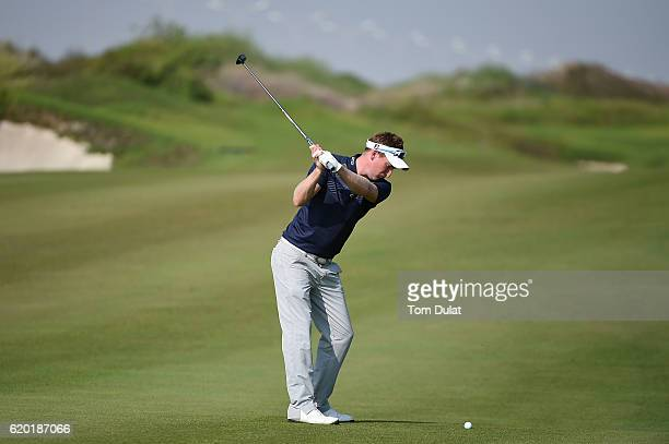 Steven Tiley of England hits an approach shot on the 3rd hole during day one of the NBO Golf Classic Grand Final at Al Mouj Golf on November 2 2016...