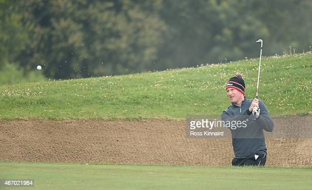 Steven Tiley of England in action during the first round of the Madeira Islands Open the at Santo da Serra Golf Club in Santo da Serra on March 20...