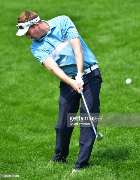 Steven Tiley of England plays a shot during the first round of the Hero Indian Open at Dlf Golf and Country Club on March 9 2017 in New Delhi India