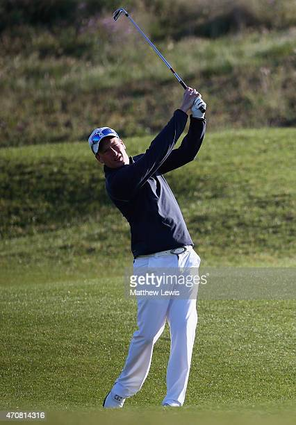 Steven Tiley of England plays a shot on the 1st hole during day two of the Challenge de Madrid at the El Encín Golf Hotel on April 22 2015 in Madrid...