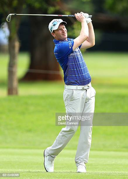 Steven Tiley of England plays his second shot on the 10th hole during the first round of the 2017 BMW South African Open Championship at Glendower...