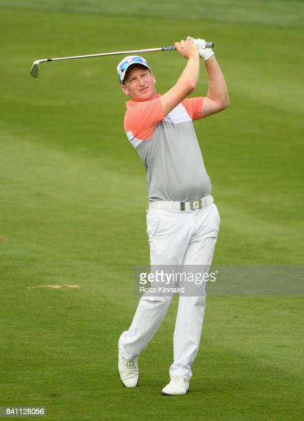 Steven Tiley of England plays his second shot on the 14th hole during day one of the DD REAL Czech Masters at Albatross Golf Resort on August 31 2017...