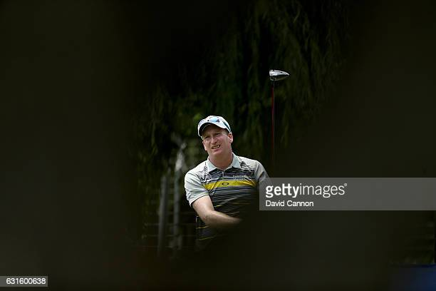 Steven Tiley of England plays his tee shot on the second hole during the second round of the 2017 BMW South African Open Championship at Glendower...