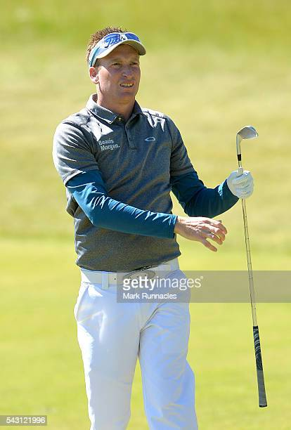 Steven Tiley of England second shot to the 1st during the final day of the 2016 SSE Scottish Hydro Challenge at the MacDonald Spey Valley Golf Course...