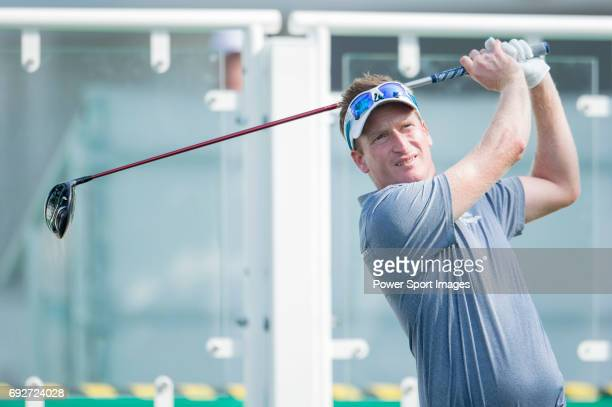 Steven Tiley of England tees off the first hole during the ProAm golf tournament of the 58th UBS Hong Kong Open as part of the European Tour on 07...