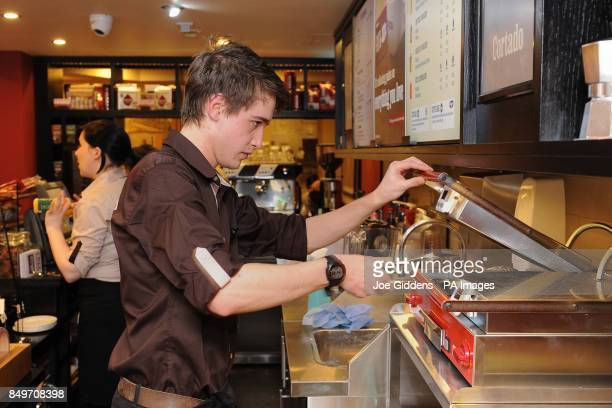 Steven Tomlinson on his first day at work at the new Costa coffee shop in Mapperley Nottingham Steven had previously been unemployed for 2 years