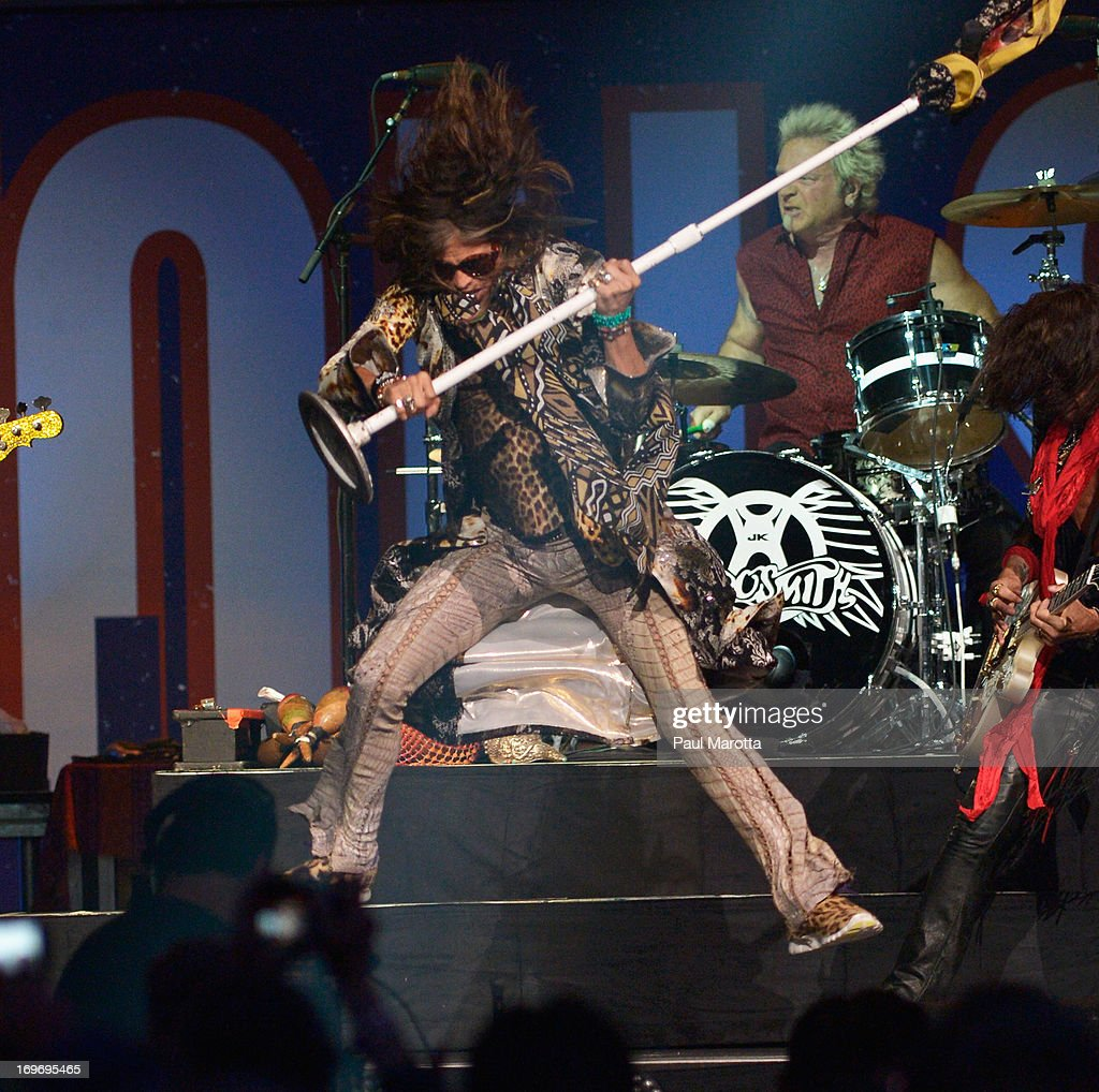 Steven Tyler and Aerosmith perform during the Boston Strong: An Evening Of Support And Celebration>> at TD Garden on May 30, 2013 in Boston, Massachusetts.