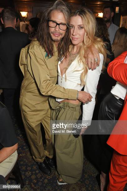 Steven Tyler and Aimee Ann Preston attend a celebration of the Stella McCartney AW17 collection and film launch at Ye Olde Mitre on June 10 2017 in...
