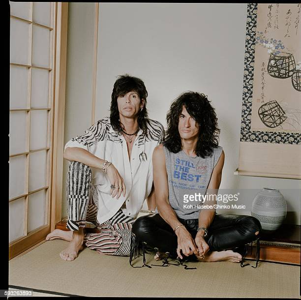 Steven Tyler and Joe Perry Aerosmith photo session in Japanese room with alcove Tokyo June 1988