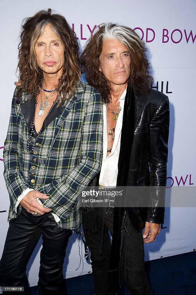 Steven Tyler and Joe Perry of Aerosmith attend the Hollywood Bowl Hall Of Fame Opening Night at The Hollywood Bowl on June 22, 2013 in Los Angeles, California.