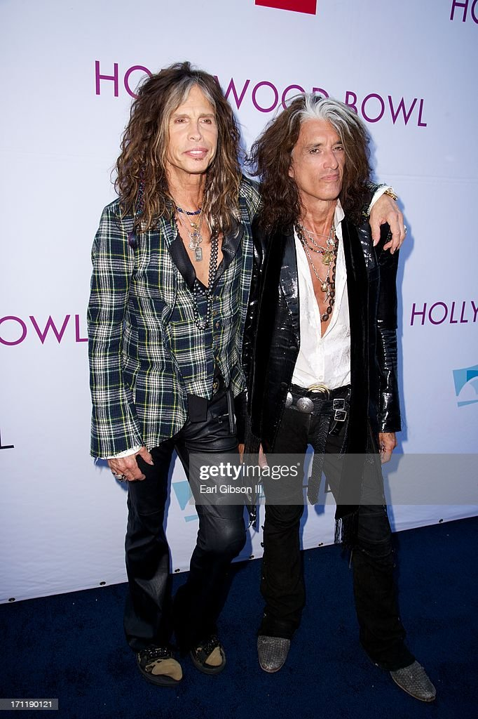<a gi-track='captionPersonalityLinkClicked' href=/galleries/search?phrase=Steven+Tyler&family=editorial&specificpeople=202080 ng-click='$event.stopPropagation()'>Steven Tyler</a> and <a gi-track='captionPersonalityLinkClicked' href=/galleries/search?phrase=Joe+Perry+-+M%C3%BAsico&family=editorial&specificpeople=13600677 ng-click='$event.stopPropagation()'>Joe Perry</a> of Aerosmith attend the Hollywood Bowl Hall Of Fame Opening Night at The Hollywood Bowl on June 22, 2013 in Los Angeles, California.