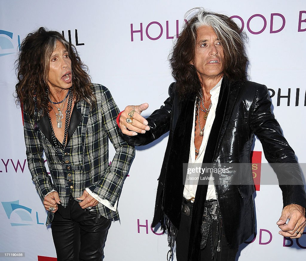 <a gi-track='captionPersonalityLinkClicked' href=/galleries/search?phrase=Steven+Tyler&family=editorial&specificpeople=202080 ng-click='$event.stopPropagation()'>Steven Tyler</a> and <a gi-track='captionPersonalityLinkClicked' href=/galleries/search?phrase=Joe+Perry+-+Musiker&family=editorial&specificpeople=13600677 ng-click='$event.stopPropagation()'>Joe Perry</a> of Aerosmith attends the Hollywood Bowl opening night celebration at The Hollywood Bowl on June 22, 2013 in Los Angeles, California.