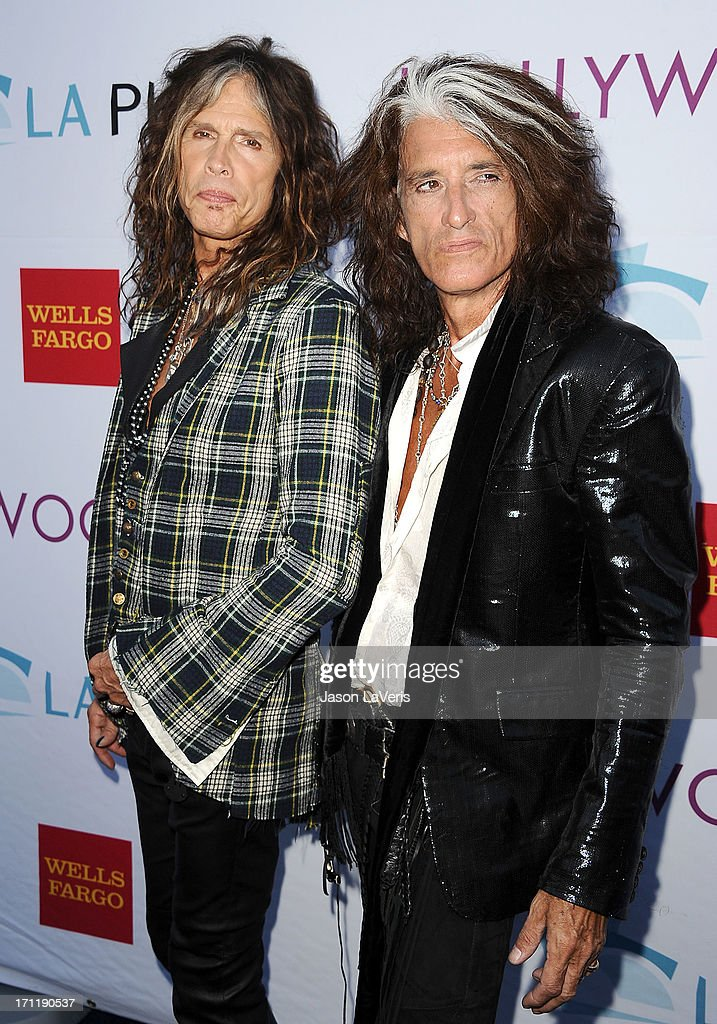 Steven Tyler and Joe Perry of Aerosmith attends the Hollywood Bowl opening night celebration at The Hollywood Bowl on June 22, 2013 in Los Angeles, California.