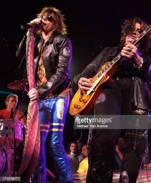 Steven Tyler and Joe Perry of Aerosmith during Aerosmith in Concert At MCI Center Washington DC December 21 2002 at MCI Center in Washington DC...