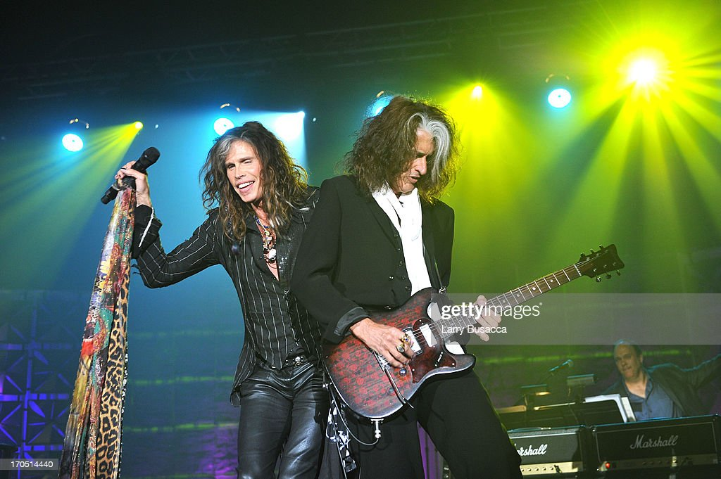 Steven Tyler and Joe Perry of Aerosmith perform at the Songwriters Hall of Fame 44th Annual Induction and Awards Dinner at the New York Marriott...