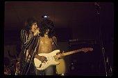 Steven Tyler and Joe Perry of Aerosmith perform live in 1973 in Newport Rhode Island
