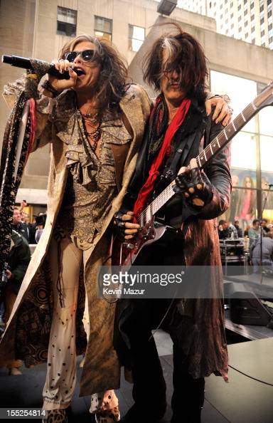 Steven Tyler and Joe Perry of Aerosmith perform on NBC's 'Today' at Rockefeller Plaza on November 2 2012 in New York City