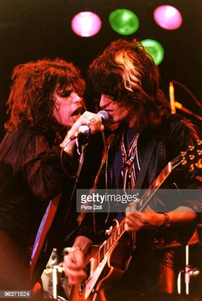Steven Tyler and Joe Perry of Aerosmith perform on stage on Day 2 of The Reading Festival on August 27th 1977 in Reading United Kingdom