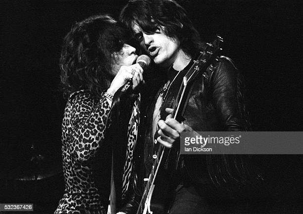 Steven Tyler and Joe Perry of Aerosmith performing on stage at Hammermsith Odeon London United Kingdom 1976
