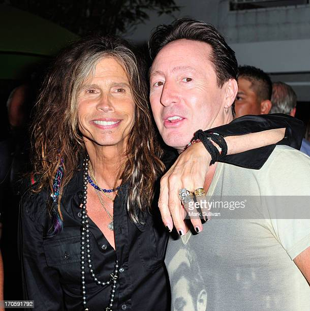 Steven Tyler and Julian Lennon attend Julian Lennon 'Everything Changes' CD release event at Morrison Hotel Gallery on June 14 2013 in West Hollywood...
