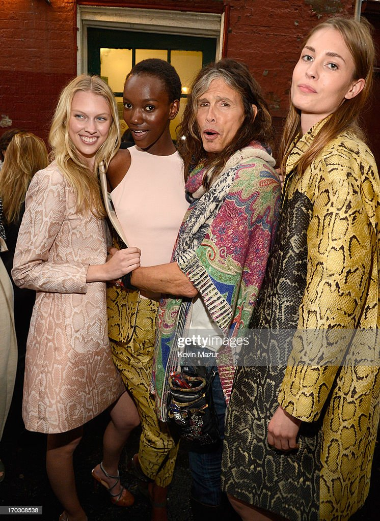 Steven Tyler (C) and models attend the Stella McCartney Spring 2014 Collection Presentation at West 10th Street on June 10, 2013 in New York City.