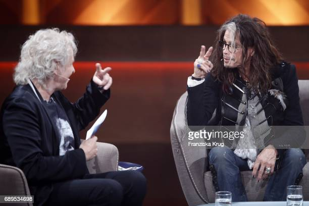 Steven Tyler and Thomas Gottschalk during 'Mensch Gottschalk Das bewegt Deutschland' TV Live Show from Berlin at Studio Berlin Adlershof on May 28...