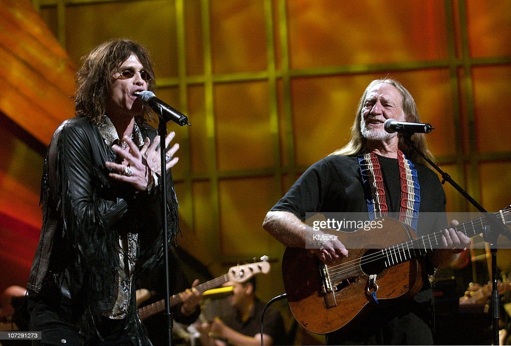 Steven Tyler and Willie Nelson during 'Willie Nelson and Friends: Live and Kickin'' Premieres on USA Network May 26, 2003 - Show at Beacon Theatre in New York City, New York, United States.