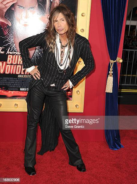 Steven Tyler arrives at the 'The Incredible Burt Wonderstone' Los Angeles Premiere at TCL Chinese Theatre on March 11 2013 in Hollywood California