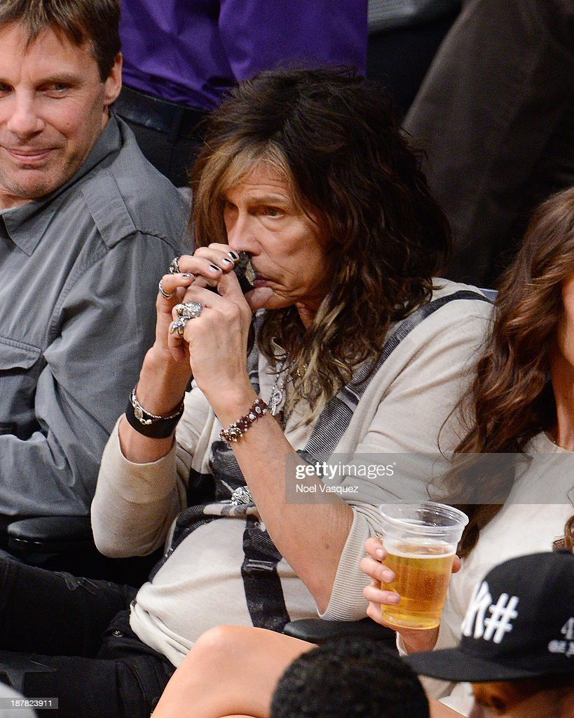 <a gi-track='captionPersonalityLinkClicked' href=/galleries/search?phrase=Steven+Tyler+-+Musician&family=editorial&specificpeople=202080 ng-click='$event.stopPropagation()'>Steven Tyler</a> attends a basketball game between the New Orleans Pelicans and the Los Angeles Lakers at Staples Center on November 12, 2013 in Los Angeles, California.