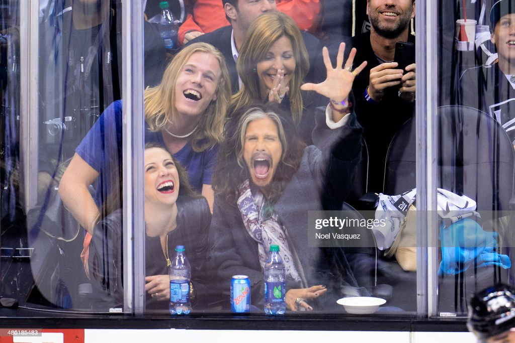 <a gi-track='captionPersonalityLinkClicked' href=/galleries/search?phrase=Steven+Tyler+-+Musician&family=editorial&specificpeople=202080 ng-click='$event.stopPropagation()'>Steven Tyler</a> attends a NHL playoff game between the San Jose Sharks and the Los Angeles Kings at Staples Center on April 22, 2014 in Los Angeles, California.