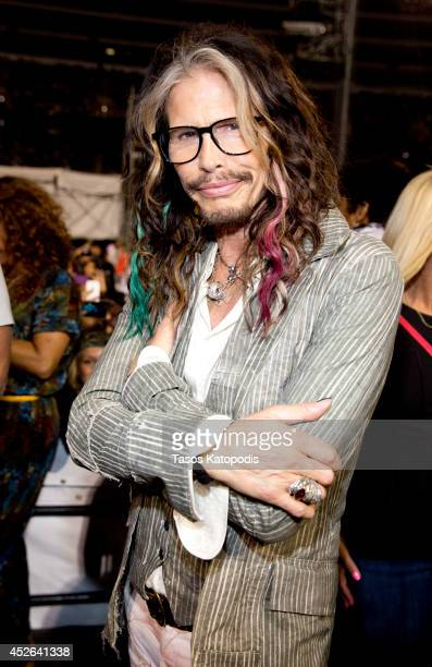 Steven Tyler attends the D'USSE VIP Riser and Lounge at On The Run Tour Chicago at Soldier Field on July 24 2014 in Chicago Illinois