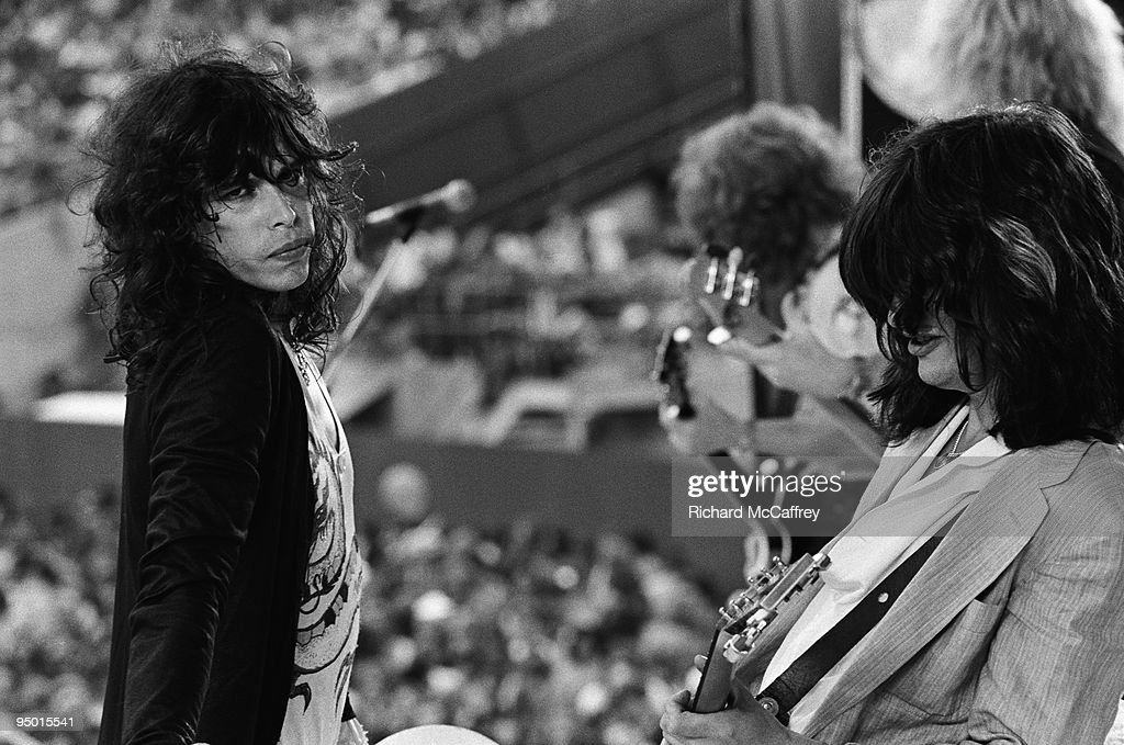 Steven Tyler Brad Whitford Tom Hamilton and Joe Perry of Aerosmith perform live at The Oakland Coliseum in 1977 in San Francisco California