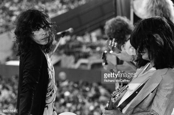 Steven Tyler Brad Whitford Tom Hamilton and Joe Perry of Aerosmith perform live at The Oakland Coliseum in 1977 in San Francisco California
