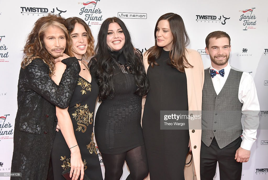 Steven Tyler, Chelsea Tyler, Mia Tyler, Liv Tyler and Taj Tallarico attend 'Steven Tyler...Out on a Limb' Show to Benefit Janie's Fund in Collaboration with Youth Villages - Red Carpet at David Geffen Hall on May 2, 2016 in New York City.
